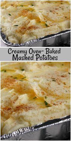 Creamy Oven Baked Mashed Potatoes Creamy Oven Baked Mashed Potatoes recipe from via Potato Sides, Potato Side Dishes, Veggie Dishes, Vegetable Recipes, Food Dishes, Food Food, Food Prep, Main Dishes, Make Ahead Mashed Potatoes