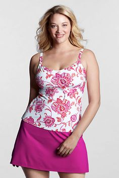 Women's Beach Living Floral Adjustable Scoop Tankini Top from Lands' End