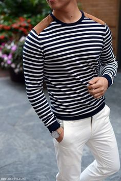 striped sweater white chinos #MensFashionPreppy