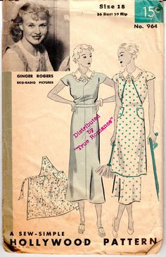 "Vintage Sewing Pattern 1930's Ladies' Dress and Apron Hollywood 964 Size 36"" Bust - Missing Instructions"