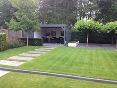 Lawn with step tiles. Currant trees, lirope muscari and white rhododendron as . Outdoor Garden Rooms, Terrace Garden, Garden Pool, Garden Paths, Garden Design Layout Modern, Contemporary Garden Design, Landscape Design, Back Gardens, Small Gardens
