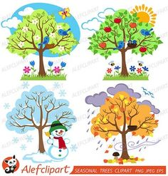 Items similar to Four Seasons Trees Clipart Seasonal Trees and Birds Clipart Clip Art Vectors - Commercial and Personal Use on Etsy Seasons Lessons, Four Seasons Art, Bird Clipart, Tree Clipart, Art For Kids, Crafts For Kids, School Decorations, Winter Trees, Cute Birds