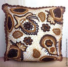 """""""Персидская сказка"""", наволочка на подушку ручной работы - коричневый,подушка"""