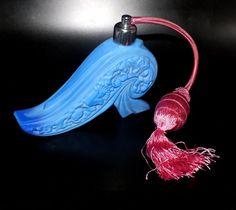 Parfum Flakon · Lapis Blau marmoriert mit Quaste · Gablonz/Böhmen ca. 1925 in Antiquitäten & Kunst, Glas & Kristall, Sammlerglas | eBay