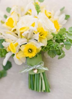 daffodils (love the bouquet wrap with the locket)