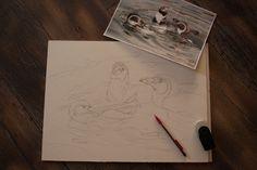 Ein Pinguin Aquarell entsteht - Vorzeichung (c) Frank Koebsch;(1)