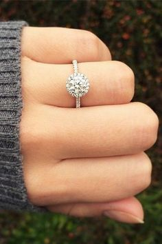 14K White Gold Pave Halo And Shank Diamond Engagement Ring | Deer Pearl Flowers