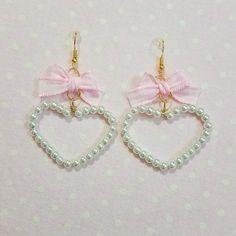 ♡ Gingham Crystal Heart Earrings ♡ • Handmade by me • Length : 5.5 cm × 4 cm #kawaii #cute #adorable #japanese #fashion #japan #korean #larme #harajuku #fairykei #sweet #lolita #sweetlolita #babydoll #pastel #pink #white #kitten #ddlg #heart #crystal #lace #pearl #bow #bows #earrings #gingham - Depop