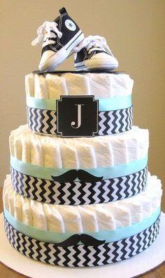 baby shower party- idée de gâteau de couches comme cadeau