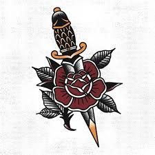 Image result for rose and dagger tattoo dotwork