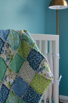 Gender neutral crib quilt, bedding READY TO SHIP - Crib Rag Quilt, for baby or toddler, Robins by Erin Ries, gender neutral, green blue teal lime, photo prop. $118.00, via Etsy. robins