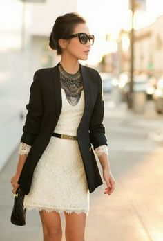 Gorgeous Outfit dressed up elegant conservative  white lace black blazer
