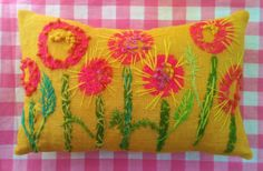 Mod Posie Garden Freehand Embroidered Burlap Pillow by YelliKelli, $45.00