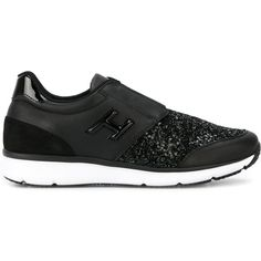Hogan glitter effect slip on sneakers (28.225 RUB) ❤ liked on Polyvore featuring shoes, sneakers, black, hogan shoes, pull on sneakers, black glitter sneakers, kohl shoes and black glitter shoes