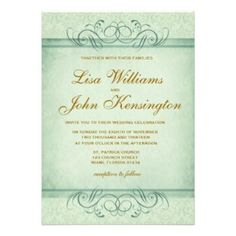 View this elegant wedding invitation with mint color and vintage damask and browse other wedding invitations with a green colour theme.