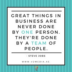 "Quote of the day  "" Great things in business are never done by one person. They're done by a team of people. "" - Steve Jobs  #PopUp #Banners #RollUp #Danglers #ShelfTalkers #EventBranding #print #printing #printingpress #dubai #cheap #affordable #quality #trading www.v2media.ae"