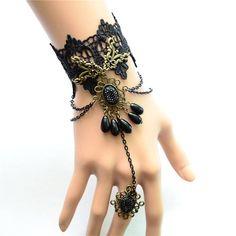 Retro Gothic Wristband Black Finer Ring Lace Bracelet