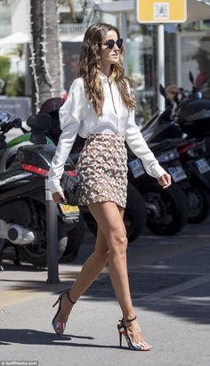 Strutting her stuff: Isabel Goulart looked incredible in a statement skirt as she stepped out in Cannes on Friday