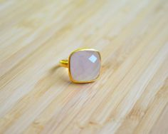 Lavender Chalcedony Square Ring Gold Vermeil by DimplesNGuns Gold Rings, Gemstone Rings, Square Rings, 3, Lavender, Stud Earrings, Gemstones, Etsy, Jewelry