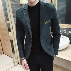 Gender: Men Item Type: Blazers Sleeve Length: Full Closure Type: Single Button Style: Casual Model Number: Brand Name: Envmenst Material: Cotton, Polyester Clothing Length: Regular Formal Suits, Men Formal, Formal Dress, Jacket 2017, Blazer Jacket, Men's Tuxedo Wedding, Designer Suits For Men, Velvet Suit, Tuxedo For Men