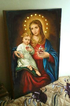 Sacred Heart of Jesus & Immaculate heart of Mary They're inseparable , you cannot have one without the other. Mary leads us to Jesus. Blessed Mother Mary, Blessed Virgin Mary, Catholic Art, Religious Art, Roman Catholic, Images Of Mary, Pictures Of Mother Mary, Queen Of Heaven, Religious Pictures
