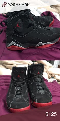 fb30eda8f69 True flight Jordan s Black and red Jordan s Jordan Shoes Athletic Shoes  Flight Jordans