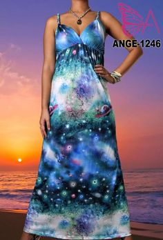 Angela New Galaxy Evening Party Women Ladies Long Maxi Dress Size M XXL 6 18 US | eBay