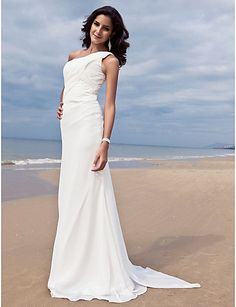cc5b272364   149.99  Sheath   Column One Shoulder Sweep   Brush Train Chiffon  Made-To-Measure Wedding Dresses with Side-Draped by LAN TING BRIDE®   Open  Back