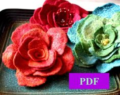 Flower pattern PDF Tutorial  Wet felted flower pin / brooch guide how to make / step by step instruction wedding bridal  baby  party  women