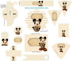 Kit festa Mickey Safari - Kit com artes prontas para personalizar sua festa Uso pessoal