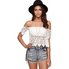 NEW crochet off the shoulder top Brand new delicate lace overlay off the shoulder tube top with an attached bandeau. Brand is LA Hearts Missguided Tops