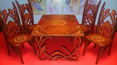 FILE UNDER Pablo Leal  Dollhouse miniature Art Nouveau dining table with 4 chairs, 1/12 scale in Dolls & Bears, Dollhouse Miniatures, Furniture & Room Items | eBay