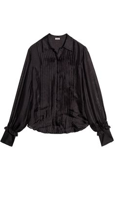 Button-Up Pintuck Silk Mesh Blouse
