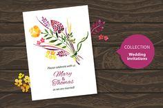 Set Of Watercolor Wedding Cards by Elena Pimonova on Creative Market