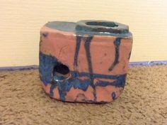 Handmade Clay Pink and Blue Japanese Vase