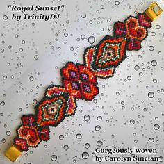 BP-PEY-146-2017-057  Royal Sunset  Peyote Stitch Beadwork