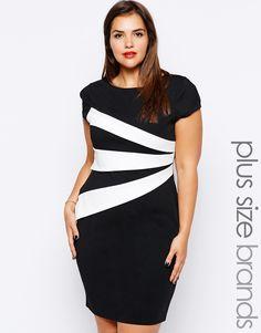 Lipstick Boutique Plus Stripe Detail Pencil dress