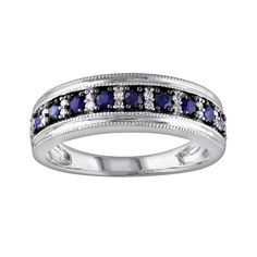 10k White Gold Sapphire and 1/10-ct. T.W. Diamond Ring, Women's, Size: 5, Blue