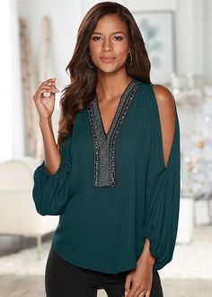 b9da3b3de9df Venus Women's Embellished V-Neck Top Tops - Green, Size XS Holiday Tops,