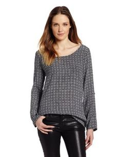 Joie Women's Wyoming B Sleeve Scoop Neck Top, Caviar/Porcelin, X-Small Pretty Outfits, Cool Outfits, Pretty Clothes, Henley Shirts, Trendy Tops, Long Sleeve Shirts, Scoop Neck, Wyoming, My Style