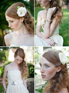 I need this!  A fun head piece worn separate from a simple birdcage that can be removed after ceremony and pictures.
