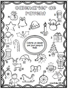 FRENCH Advent Calendar FREE/Coloriage du calendrier de l'Avent