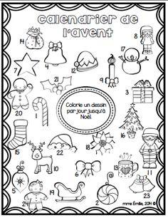 FRENCH Advent Calendar FREE/Coloriage du calendrier de l'Avent