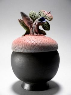 Nancy Y Adams Clay Artist Black Acorn Box