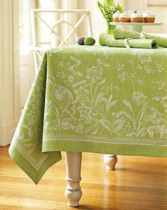 """I love the softness and elegence of this table cloth. would be just right for putting over a table or other element in the room to tie it in. Especially as I'm not a millionaire so likely some of the furniture might now """"match"""" without tweaking. Green Tablecloth, Easter Tablecloth, Linens And Lace, Easter Holidays, Interior Photo, Green Kitchen, Decorating On A Budget, Spring Green, Table Linens"""