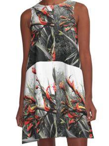 """""""Waiheke Island"""" - Flax Flowers A-Line Dress"""
