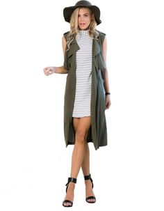 Stylish Ladies Women Casual Green Cardigan Long Vest Jacket Outwear