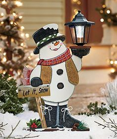 Wooden Snowman Solar Lighted Lantern Let Is Snow Sign Whimsical Decor Festive Christmas Holiday Yard Accent Outdoor Art Decoration Wooden Christmas Yard Decorations, Christmas Yard Art, Noel Christmas, Christmas Lights, Christmas Ornaments, Outdoor Decorations, Wooden Snowman Crafts, Christmas Light Installation, Holiday Crafts