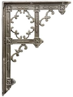 """House of Antique Hardware - Victorian Gothic Cast Iron Shelf Bracket 91/3"""" x 6 3/4"""" This distinctive Victorian style bracket is a House of Antique Hardware exclusive! Reproduced from an 1880s Gothic Revival design, it has a wonderful architectural quality, recalling the bracketed wood ceilings of medieval churches. Made of heavy duty cast iron to provide sturdy support for shelves throughout your home. Choose from three finishes: matte black, antique white and lacquered antique iron."""