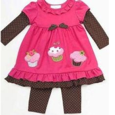 732382bed1 NWT NEW GIRLS 2PC RARE EDITIONS CUPCAKES WINTER OUTFIT SET 3 6 6 9 12M 18M  24M